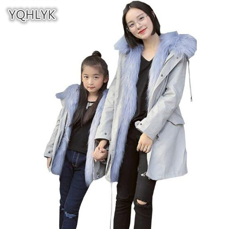 цена на Mom and daughter winter Faux fur coat family matching warm imitation fox fur coat mother kids jacket long Parker family clothes