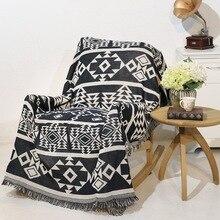 Manta clásica de geometría nórdica de doble cara de algodón tejido tapiz de pared sofá toalla cubierta de cama felts alfombra decoración de granja