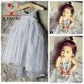KAMIMI 2017 marca princesa vestido del tutú del bebé de moda de verano vestido de noche vestido de fiesta niñas gasa vestido de la raya del bebé ropa T996