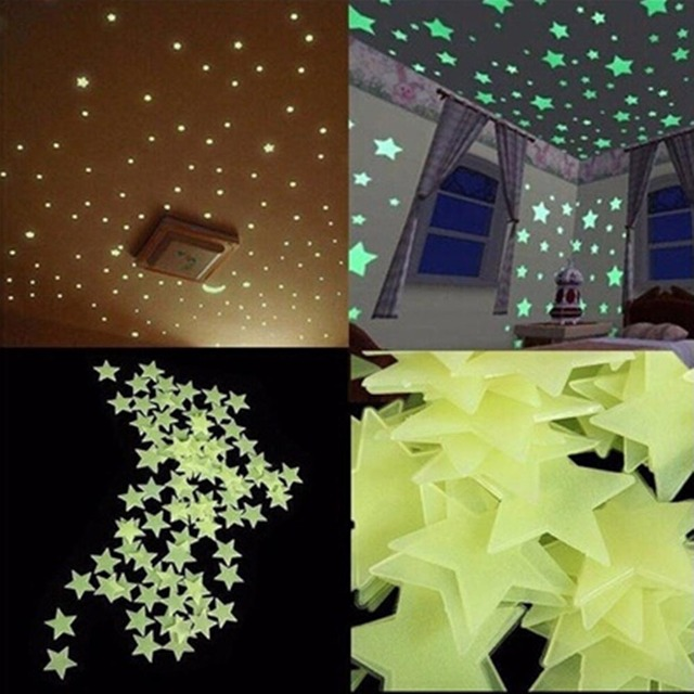 3D Stars In The Dark Luminous On Wall Stickers 100 Pcs For Kids Room Wall Decal Home Decoration Wall Stickers