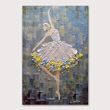 Arthyx картины балетные фотографии танцоров ручная роспись абстрактный нож картина маслом на холсте настенная живопись для гостиной домашний декор