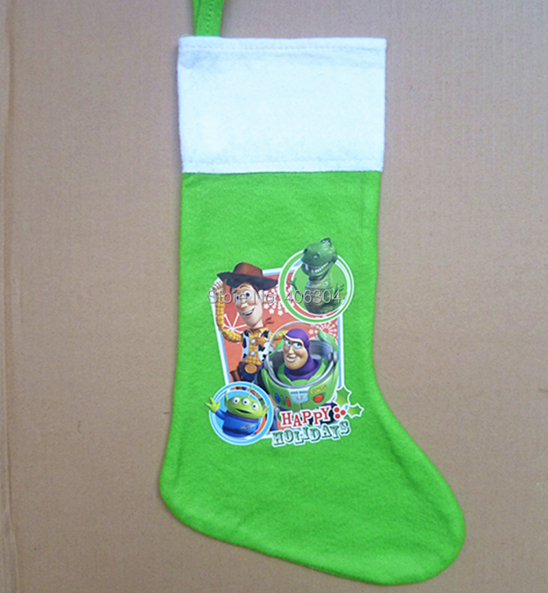 Free Shipping.40cm length.three styles Cartoon buzz toy story Christmas stockings/Xmas sock/Christmas decoration