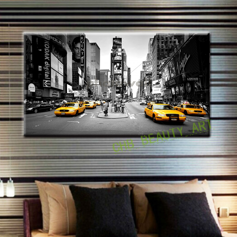 2017 Canvas Painting New York Taxi Street Modern Wall