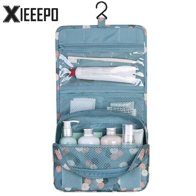 Hanging Travel Cosmetic Bag Women Zipper Make Up Bags Polyester High Capacity Makeup Case handbag Organizer Storage Wash Bag pvc transparent wash portable organizer case cosmetic makeup zipper bathroom jewelry hanging bag travel home toilet bag