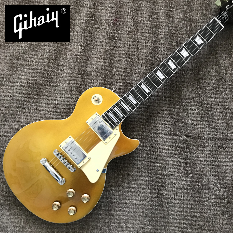 High quality hand-made electric guitar, Gold top red back electric guitar with rosewood Fingerboard, free shipping(China)