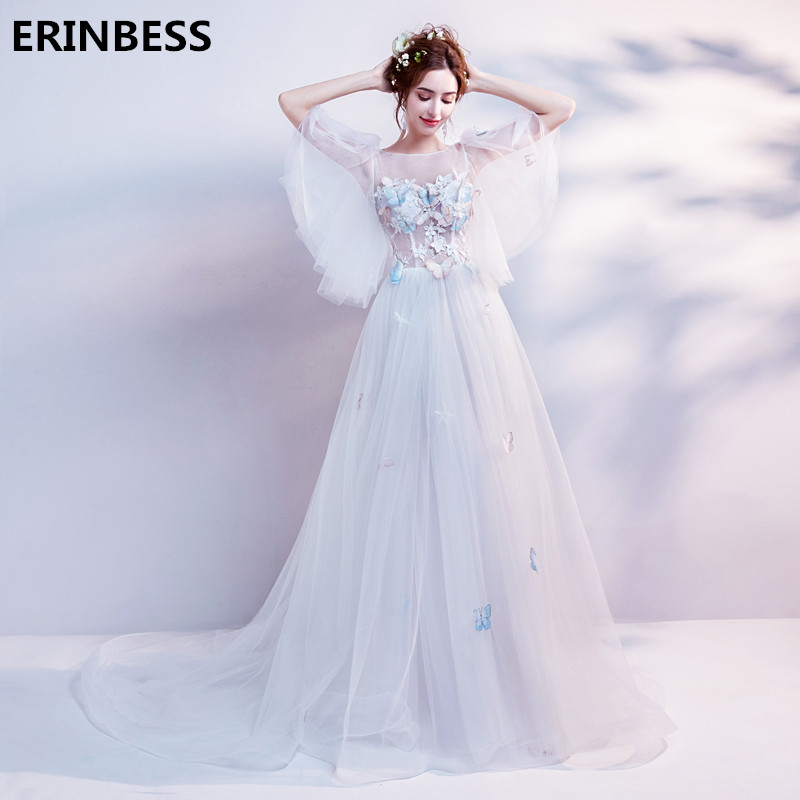 Vestido De Festa Half Sleeve   Evening     Dress   Robe De Soiree White Tulle Scoop Neck   Evening     Dresses   Long   Dress   Party Gowns 2019