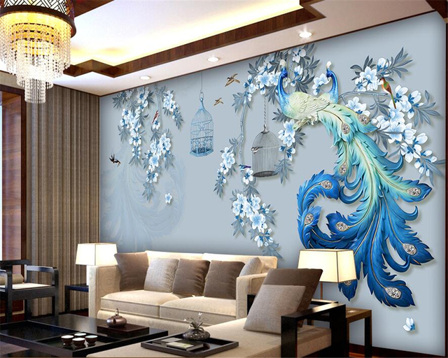 Beibehang Custom Wallpaper Home Decorative Mural Relief Peacock Couple Hand  Painted Birds Blues TV Background Walls