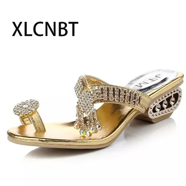 062d7b70c9 Ladies flip flop flash home slides women shoes masonry med heels beach  sandals females crystal flip flop sea free shipping