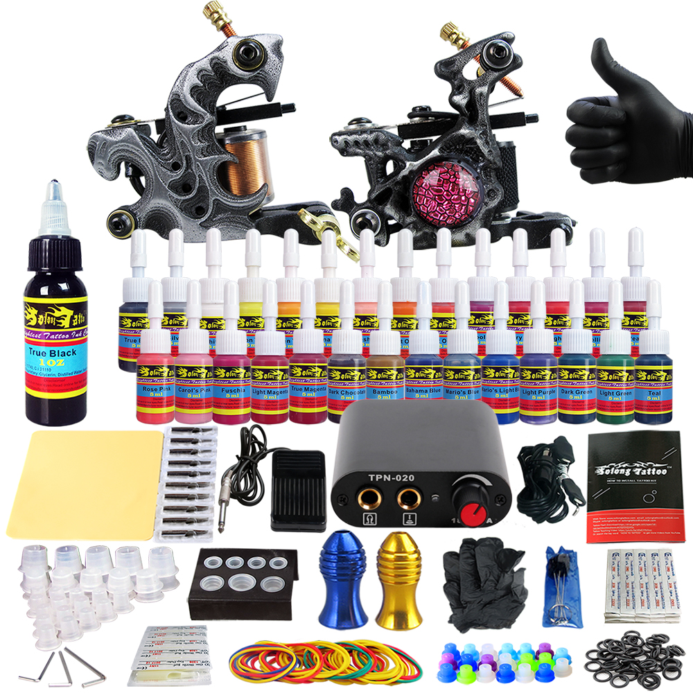 Solong Tattoo complete professional 2 tattoo Machine Guns set Tattoo Kit 28 Inks Needle Grips power supply TK204-29 europe god of darkness robert recommend gp self lock grips gp3 professional tattoo artist grip