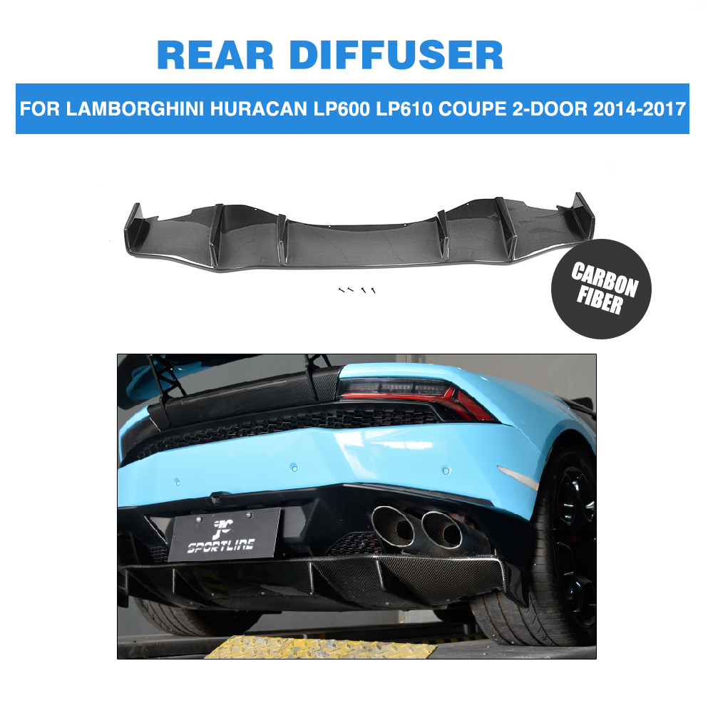 Carbon Fiber Rear Bumper Exhaust Diffuser Lip case for Lamborghini Huracan LP600 LP610 Coupe 2 Door 2014-2017 D Style