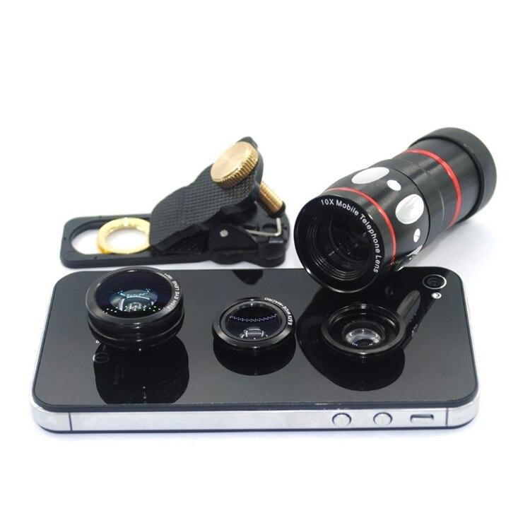 imágenes para 2016 Nueva Universal 4in1 10X de Zoom Telescopio Lente Gran Macro Lente 180 grados Lente Ojo de Pez Para IPhone 5c Para Samsung HTC Huawei 5S