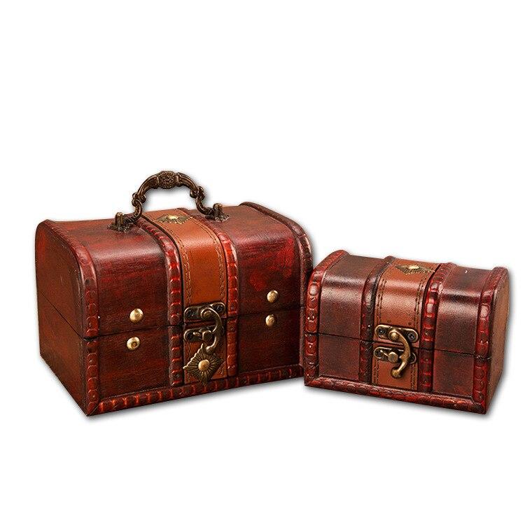Trinket-Box Wood-Case Jewelry-Box Decoration Safe Vintage Mini Europe 2pcs Antique