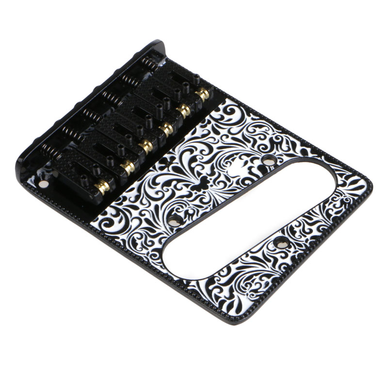 3 Copper Saddle Ashtray Bridge With Control Plate For Electric Guitar Black ashtray