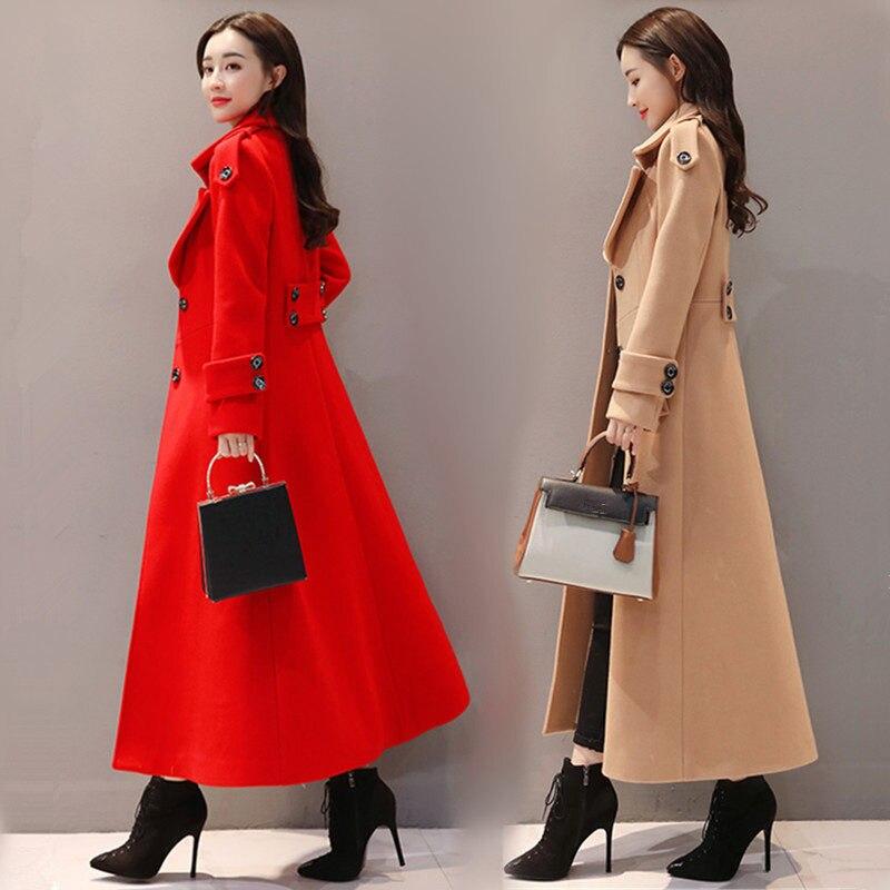 Rosso Lungo Cappotto di Lana Delle Donne Monopetto Addensare Cappotto di Inverno Delle Donne di Modo Elegante Delle Signore Parka Abrigo Mujer Cappotto Di Lana c4707 - 3