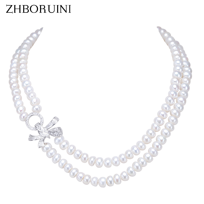 ZHBORUINI 2019 Fashion Pearl Necklace Freshwater Pearl Double Row Bow Women Statement Choker Necklace Jewelry For
