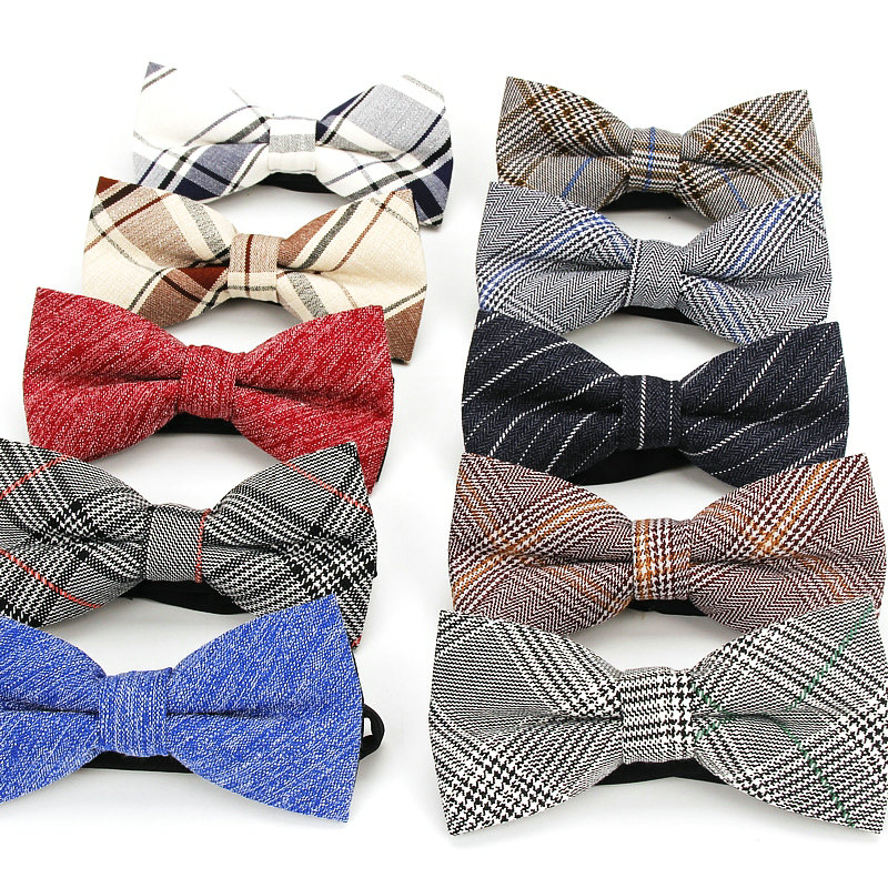 Plaid Cotton Bow Tie For Men Classic Shirts Bowtie For Business Wedding Bowknot Adult Mens Bowties Cravats Red Blue Butterfly