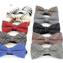 Plaid Cotton Bow Tie For Men Classic Shirts Bowtie For Business Wedding Bowknot Adult Mens Bowties Cravats Red Blue Butterfly(China)