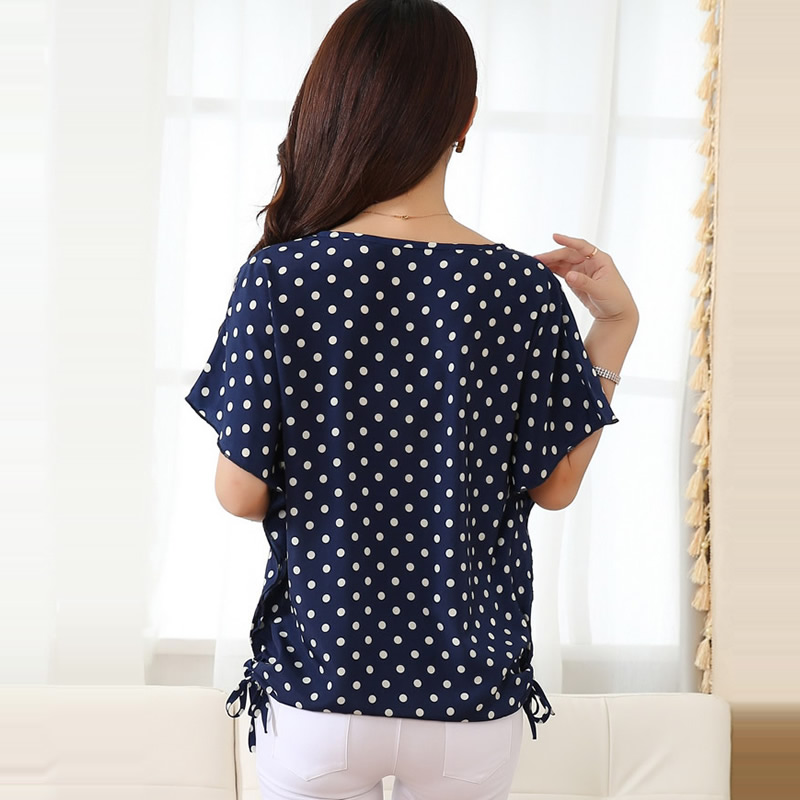 78499902c8bf Summer Style Blouse Shirt Women Blouses Feminines Polka Dot Print Blouse  Bat Sleeve Plus Size Women Tops Ladies Chiffon Shirt-in Blouses   Shirts  from ...