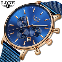 LIGE New Watches Mens Top Brand Luxury Blue Casual Mesh Belt Fashion Quartz Watch Waterproof Sports Relogio Masculino