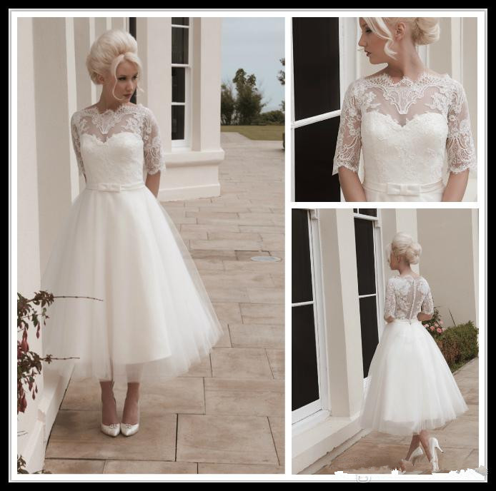 1950s Style Half Sleeve Lace Tulle A Line Ankle Length Wedding