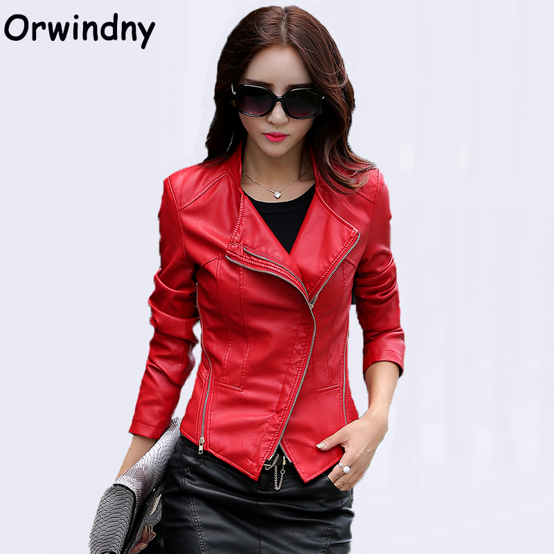 Motorcycle Leather clothing female spring and autumn slim women leather jacket brief short casual leather coat S-4XL