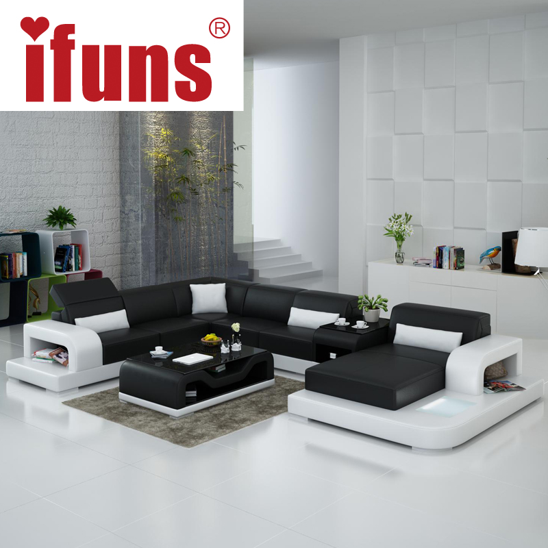 Aliexpress : Buy IFUNS Extra Large Size U Shaped Couch, Genuine Leather  Sofa Set Modern Sectional Floor Sofa Furniture From Reliable Sofa Furniture