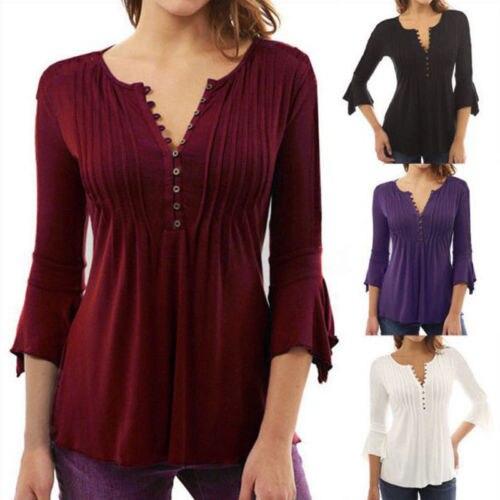 Moda Loose Women 3/4 Sleeve Top Camicetta Camicie Casual In Cotone di Estate Camicette Shirt Top di Colore Solido Viola Vino Rosso