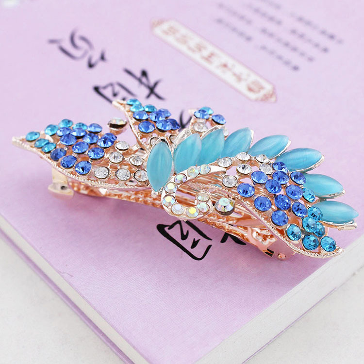 High-grade ShanZuan opal peacock hairpin clip, free home delivery han edition hair pearl four petals small clip hairpin edge clip a word free home delivery