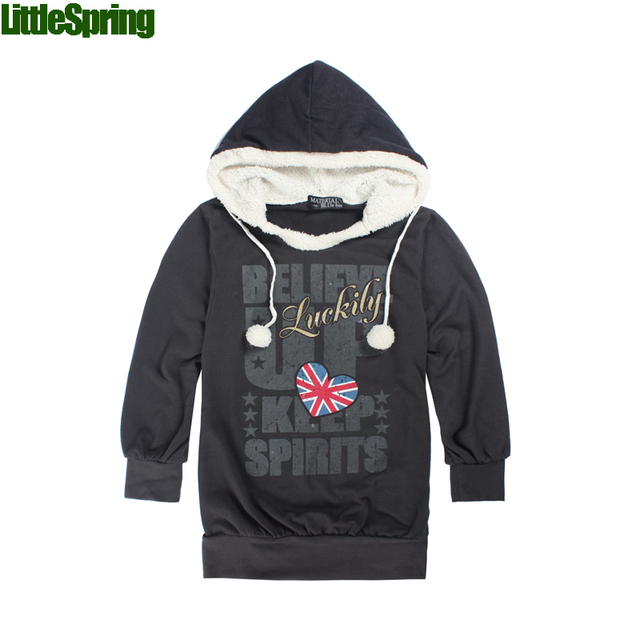Retail 2017 new girls long sleeve hoodies children's fashion cotton blends letters patterned coat