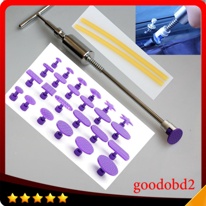 Heavy Duty PDR tools dent slide hammer Auto Dent Repair Dent Remover Dent Puller Hammer with 24x pulling tabs gift glue sticks dent pulling bits straight