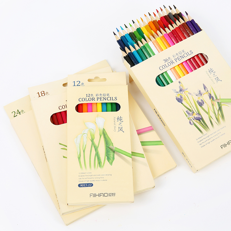 ธรรมชาติดินสอสีเรื่องราวสำหรับการวาดภาพ 36 สีที่แตกต่างกันชุดดินสอดินสอสีสำนักงานเครื่องเขียนอุปกรณ์การเรียน lapices 6988
