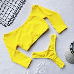 Image 5 - Off shoulder top bikini 2019 Ribbed swimsuit female beach wear Push up swimwear women bathing suit Sexy thong swimsuit female