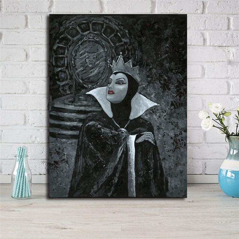 Poster de peinture murale blanc neige et TheSeven   Représente un miroir, reine maléfique, toile artistique HD, décor de chambre à coucher, maison
