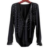 Men's Latin Dance Shirt For Ballroom Dancing Long Sleeve Standard Performance Costumes 2015 New Arrival Deep V neck Sex Products