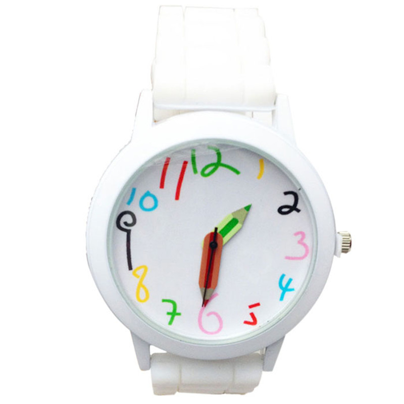 Newly Design Fashion Quartz Unisex Boys and Girl's Colorful Number All-Match Silicone Jelly Wrist Watch Relogio Masculino