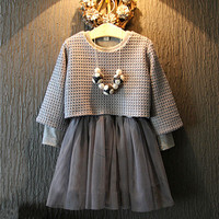 2016 New Autumn Girl Clothing Set Children Long Sleeve Girls Grey Knitted Mesh Two Pieces Dress