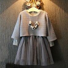 2017 Printemps Hiver Fille Vêtements set Enfants À Manches Longues Filles Gris Tricoté Maille Deux Pièces Robe Enfants Robes Chemise Costume