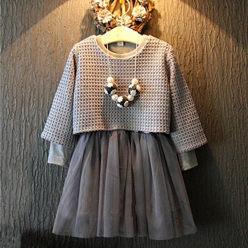 4d7286d4d Invierno 2017 primavera niña ropa set niños manga larga Niñas punto gris  malla dos piezas vestido camisa Vestidos traje