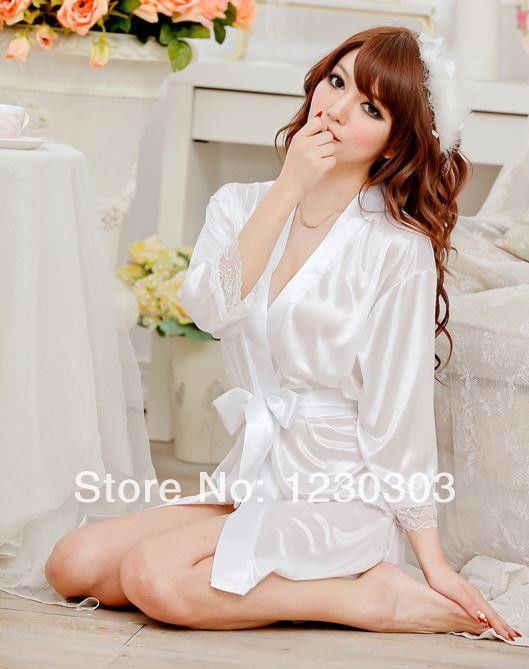 ร้อนชุดนอนชุดราตรีแม่บ้านชุดชั้นในเซ็กซี่ซาตินลูกไม้สีดำ Kimono ชุดนอน Intimate Robe เซ็กซี่ชุดราตรีเสื่อคลุมอาบน้ำ