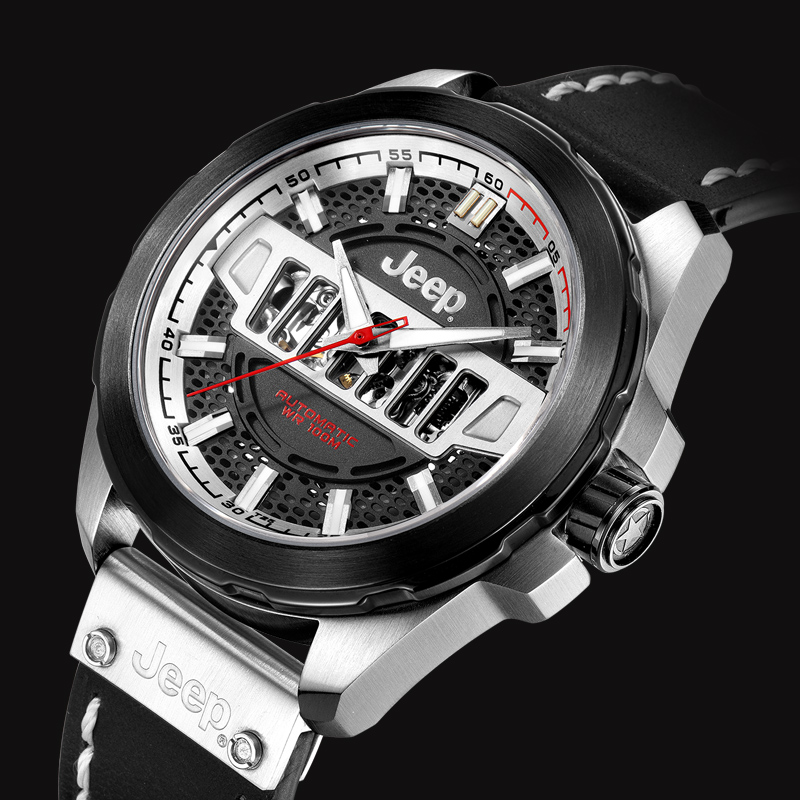 Jeep Original Grand Cherokee Mens Watches New Arrivals Automatic Mechanical Watch Leather Band Water Resistant Watches JPG90801
