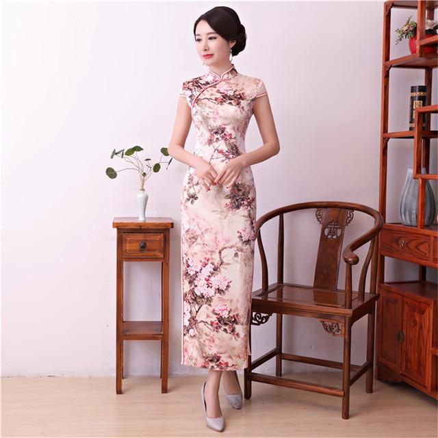 654c48eba Pink Women Chinese Traditional Long Dress Sexy Rayon Handmade Button  Cheongsam Vintage Print Floral Slim Ankle-Length Qipao