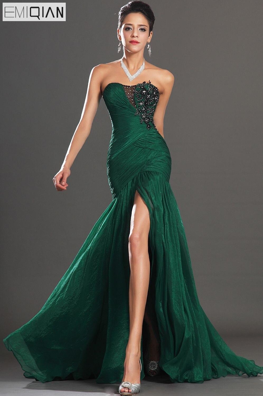 Бесплатная доставка Новые Потрясающие Высокая Разделение без бретелек темно зеленый шифон вечернее платье