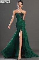 Free Shipping New Stunning High Split Strapless Dark Green Chiffon Evening Dress