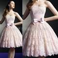 Cute Short  Strapless Pink Lace Homecoming Dress Pleat Cheap Homecoming Dresses Mini College Graduation Dress Party Gowns HC33
