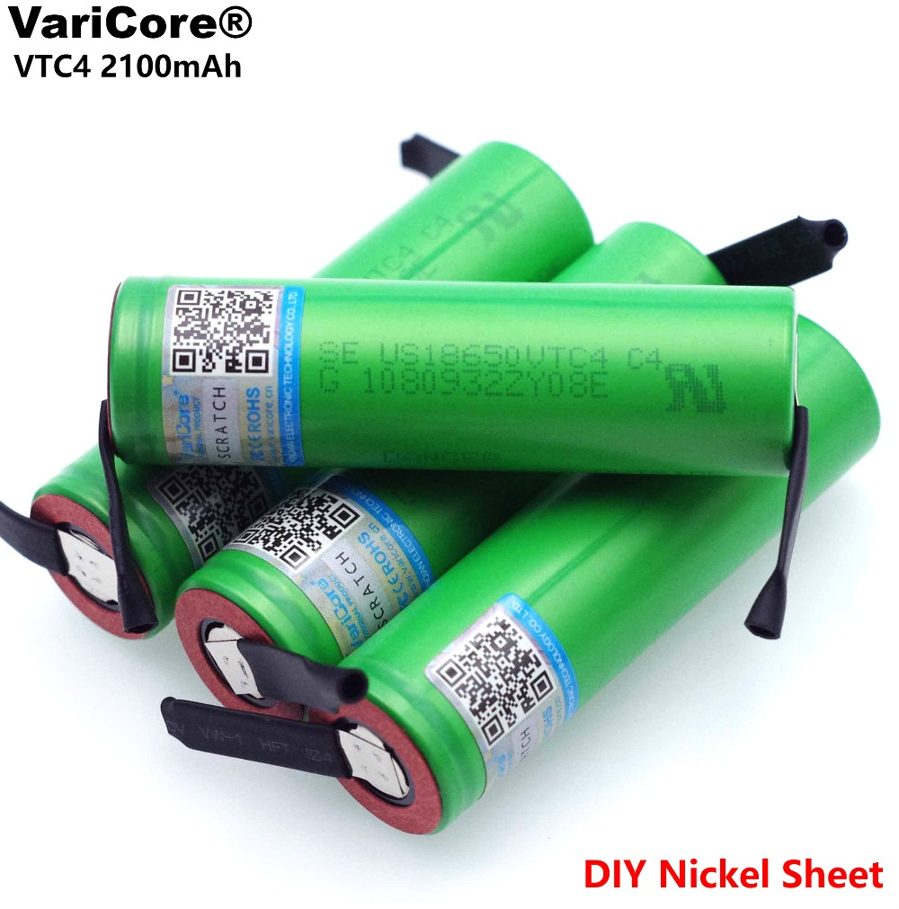 VariCore 100% Original 3.6V 18650 VTC4 2100mAh High drain 30A Rechargeable battery For US18650VTC4 +DIY Nickel sheet-in Replacement Batteries from Consumer Electronics