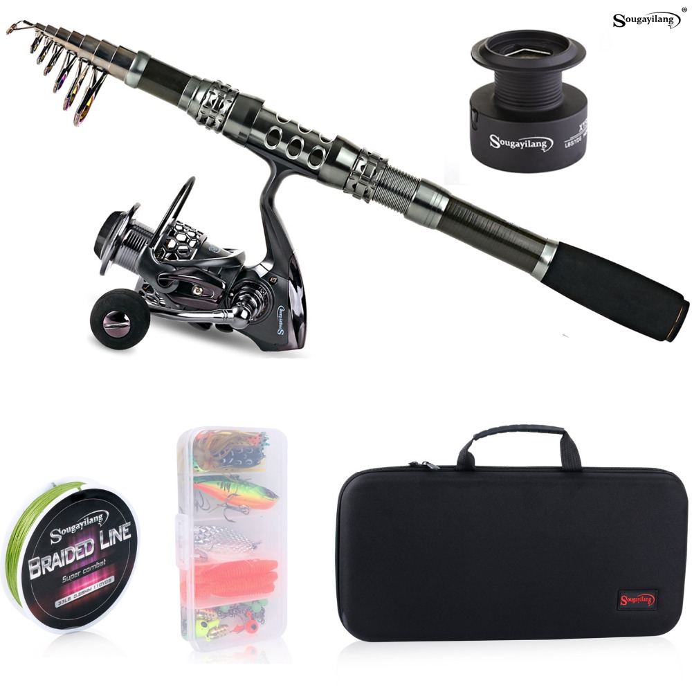 Sougayilang Telescopic Fishing Rod With Spinning Reels Combos Fishing Reel Pole Lure Line Bag Sets Kit For Travel Fishing Tackle sougayialng 99 rbon1 8 3 6m telescopic fishing rod pole with 13bb metal spinning reel fishing rods and reels set kit de pesca
