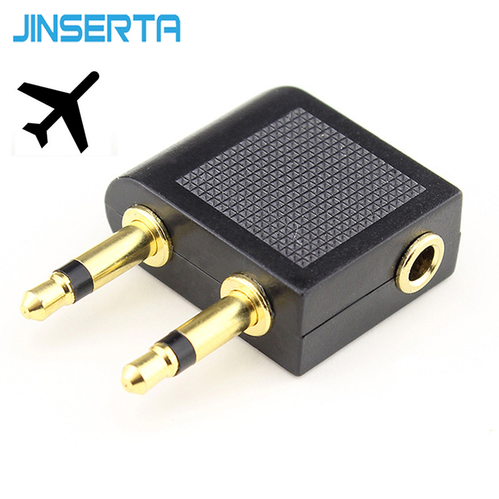 JINSERTA Mini Airplane 3.5mm Stereo Headphone arphone Socket Adapter Converter connector Gold Plated Airplane Headphone Plug image