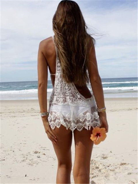 Stylish Mesh beach cover up See Through Lace