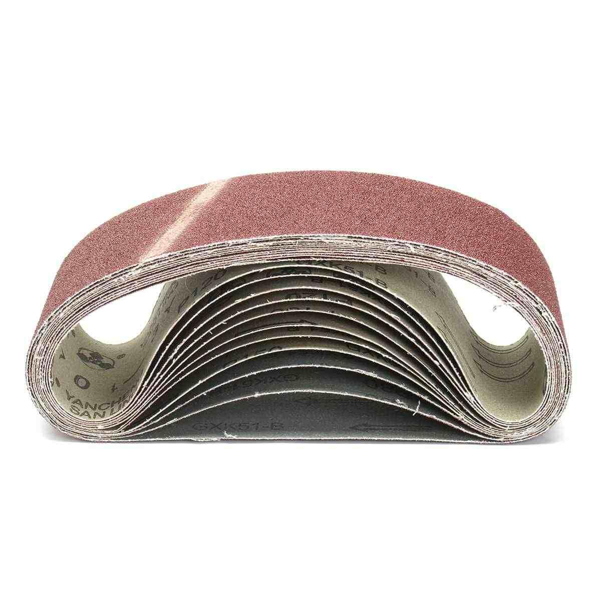 11Pcs Schuren Riemen 75Mm X 533Mm 80 120 150 Gemengde Grit Aluminiumoxide Sander Bestand Riem Set Schurende gereedschap Accessoires
