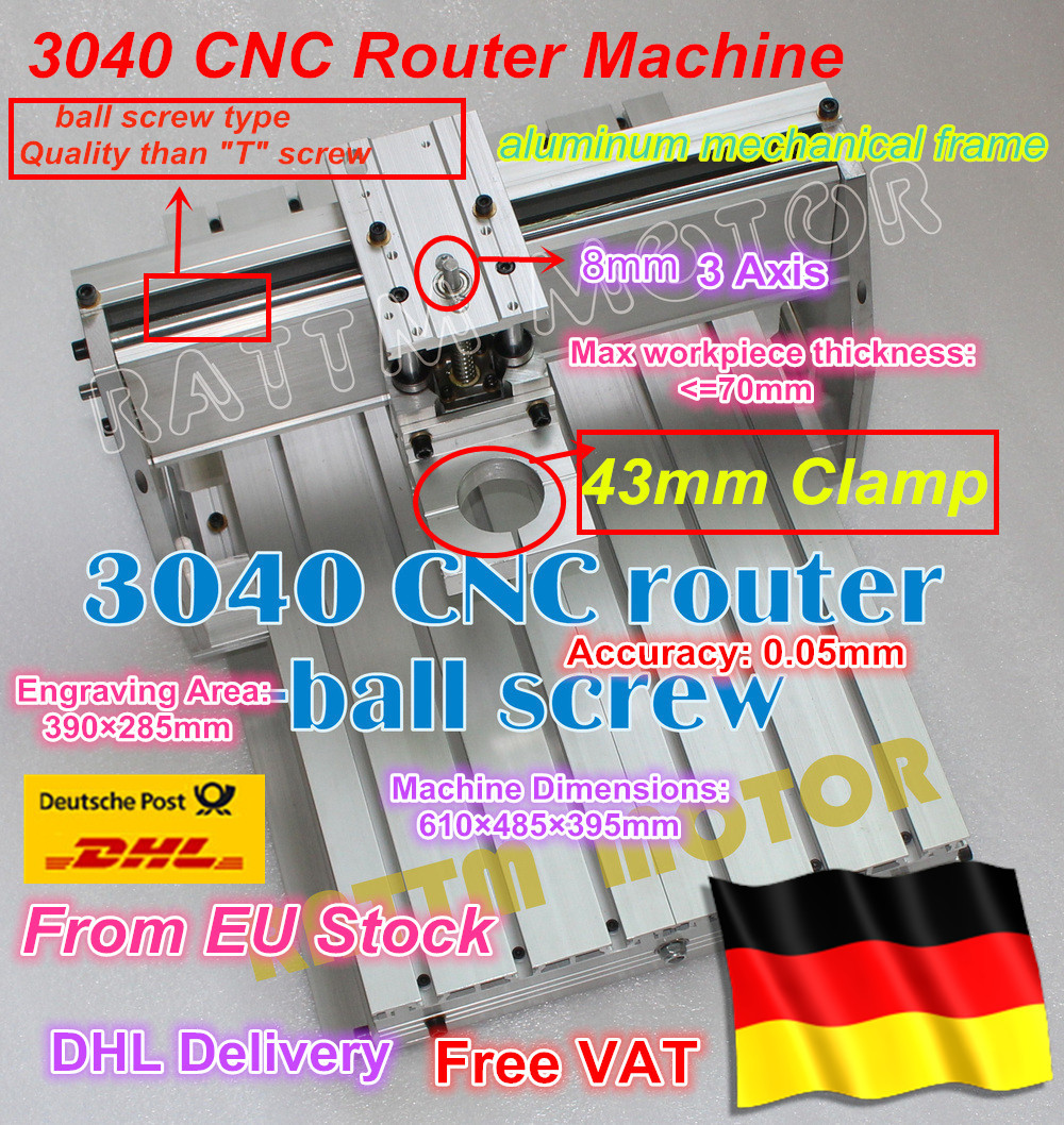 EU ship/ EU Free VAT 3040 CNC router milling machine mechanical kit Frame ballscrew with 43mm Neck Spindle Mount for KRESS motor new design 3040 cnc frame cnc 3040 mini lathe free tax to ru eu